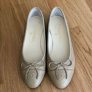 Chanel quilted beige ballet flats size 35.5